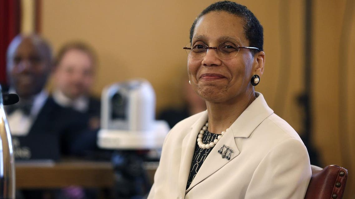 Justice Sheila Abdus-Salaam looks on as members of the state Senate Judiciary Committee vote unanimously to advance her nomination to fill a vacancy on the Court of Appeals at the Capitol on Tuesday, April 30, 2013, in Albany, N.Y. (AP)
