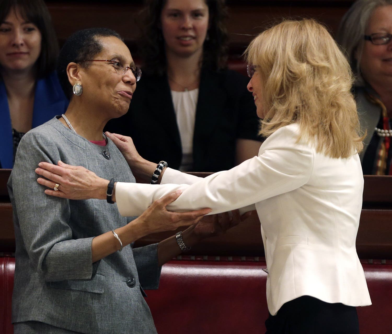Justice Sheila Abdus-Salaam, left, is congratulated after being confirmed to serve on the New York State Court of Appeals by friend and Albany City Court Judge Rachel Kretser, on May 6, 2013, in Albany, N.Y. (AP)