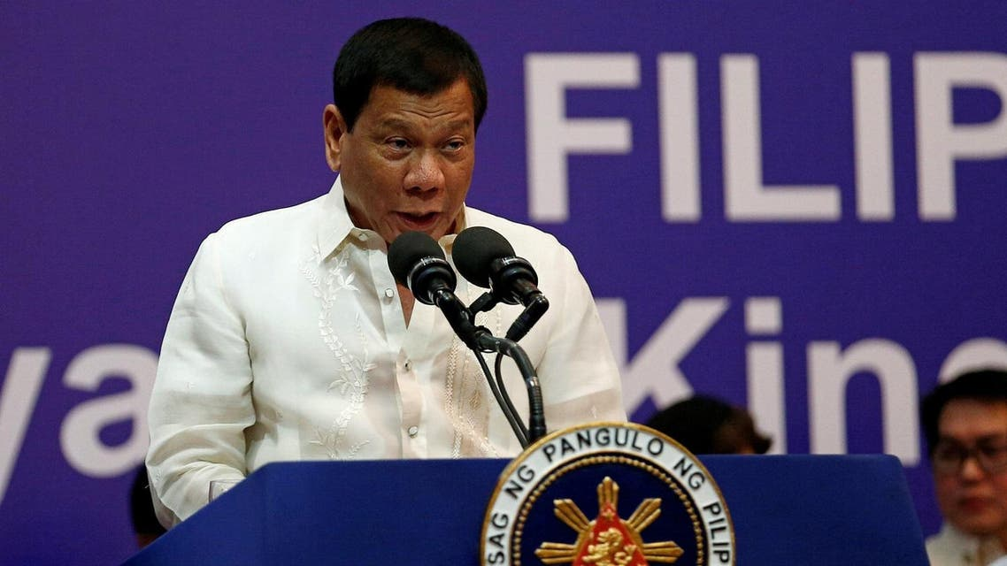 Rodrigo Duterte speaks during a meeting with the Filipino community in Riyadh, Saudi Arabia, on April 12, 2017. (Reuters)