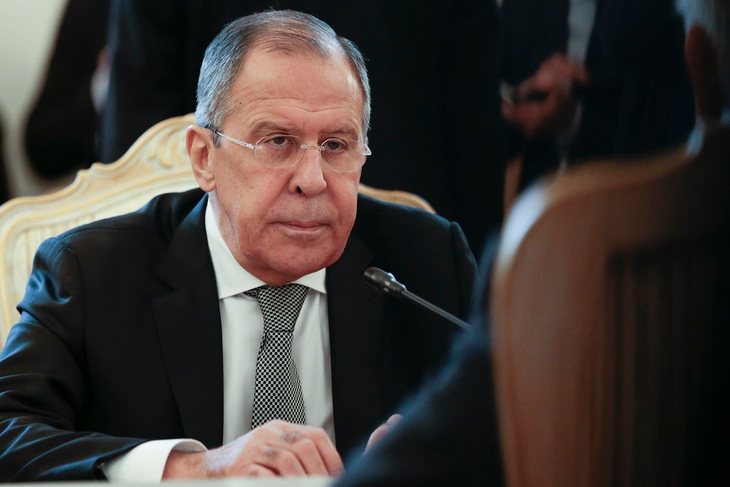 Sergei Lavrov listens to Rex Tillerson during their talks in Moscow on April 12, 2017. (AP)