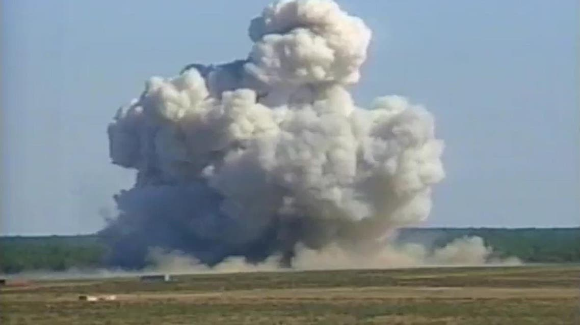 A video grab from 2003 color file footage courtesy the US Air Force (USAF) shows a mushroom cloud created by a GBU-43/B Massive Ordnance Air Blast bomb prototype moments after impact at a test site at Eglin Air Force Base, in Florida. The US military on April 13, 2017 dropped what is considered to be the largest non-nuclear bomb on an Islamic State complex in Afghanistan, the Pentagon said. afp