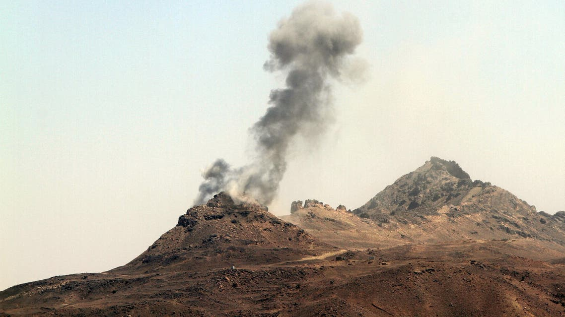 Smoke billows from military barracks in the Jabal al-Jumaima mountain following an air strike near Sanaa March 30, 2015. (Reuters