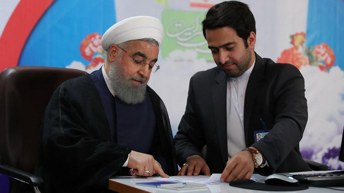 Iranian President Hassan Rouhani  registers on Friday to run for a second four-year term in the May election. (Reuters)