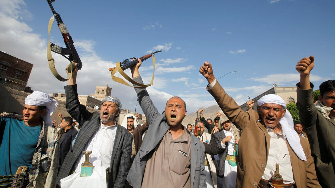 Supporters of the Houthi movement shout slogans at a pro-Houthi rally in Sanaa, Yemen, March 17, 2017. (Reuters)