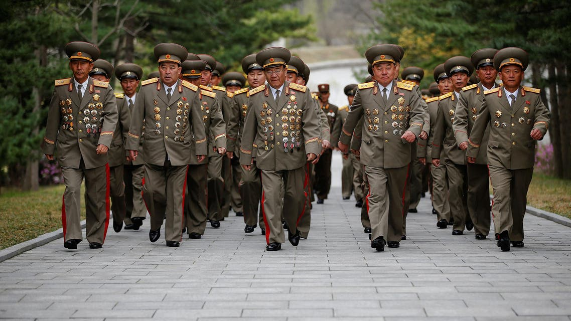 Military officers visit the birthplace of North Korean founder Kim Il Sung, a day before the 105th anniversary of his birth, in Mangyongdae, just outside Pyongyang, North Korea April 14, 2017