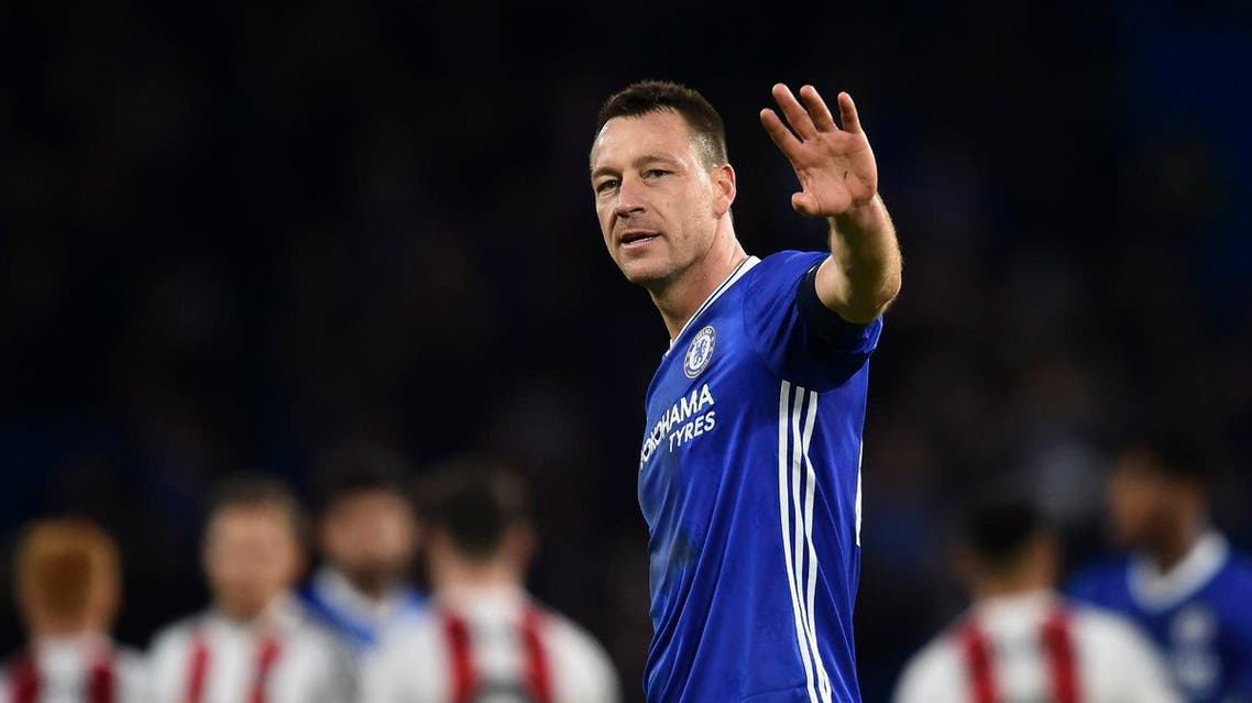 "(FILES) This file photo taken on January 28, 2017 shows Chelsea's English defender John Terry waving at the end of the English FA Cup fourth round football match between Chelsea and Brentford at Stamford Bridge in London. Chelsea great John Terry will leave the club at the end of the season, the Premier League leaders announced on April 17, 2017. ""John Terry and Chelsea Football Club today jointly announce our captain will leave the club at the end of the season,"" said a club statement. (AFP)"