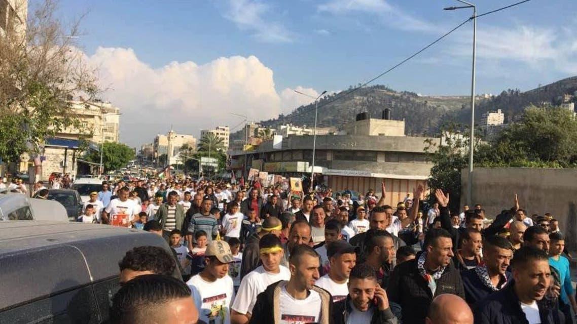 """مسيرات فلسطينية تزامنا مع """"اضراب الكرامة"""" اضراب المعتقلين الفلسطينيين عن الطعام في سجون الاحتلال الاسرائيلي فلسطين"""