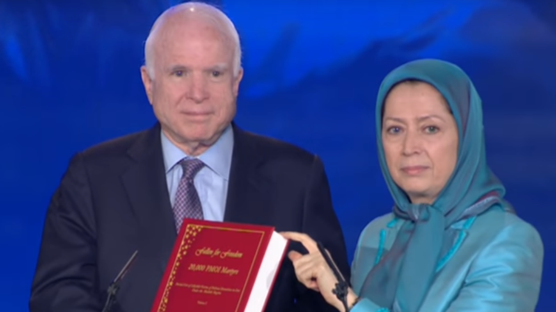 McCain met with Maryam Rajavi, President of the National Council of Resistance of Iran (NCRI), in Albania on Friday. (Screen grab)