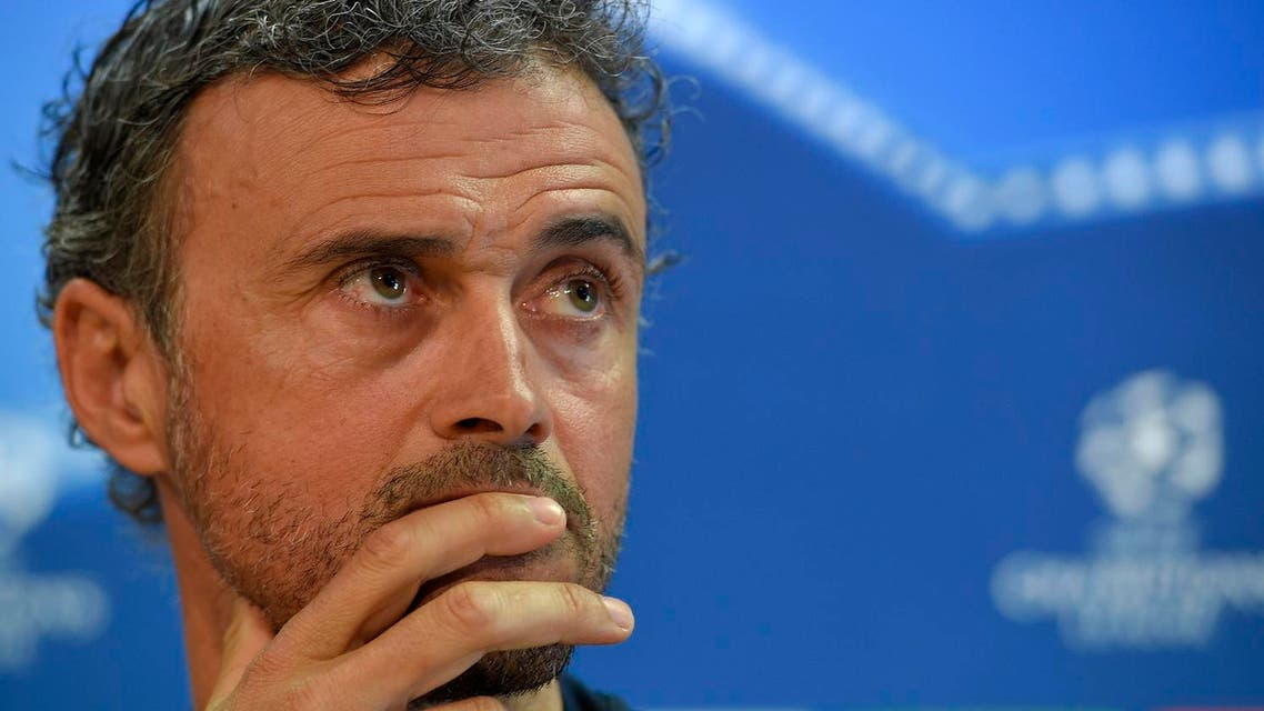 Barcelona's head coach Luis Enrique ponders during a press conference at the Joan Gamper Sports Center in Sant Joan Despi, near Barcelona, on April 18, 2017 on the eve of the UEFA Champions League quarter-final second leg football match FC Barcelona vs Juventus. (AFP)