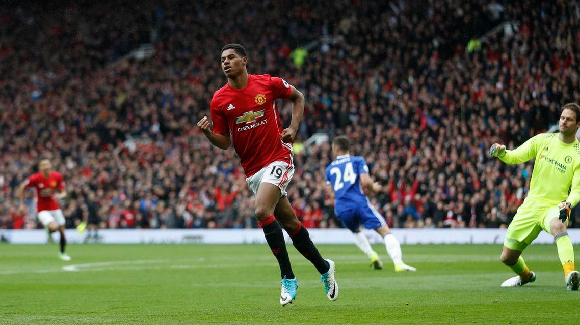 """Britain Soccer Football - Manchester United v Chelsea - Premier League - Old Trafford - 16/4/17 Manchester United's Marcus Rashford celebrates scoring their first goal Action Images via Reuters / Carl Recine Livepic EDITORIAL USE ONLY. No use with unauthorized audio, video, data, fixture lists, club/league logos or """"live"""" services. Online in-match use limited to 45 images, no video emulation. No use in betting, games or single club/league/player publications. Please contact your account representative for further details."""