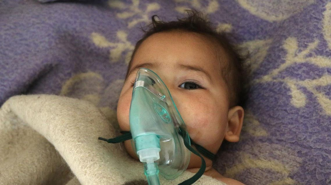 A Syrian child receives treatment at a small hospital in the town of Maaret al-Noman following a suspected toxic gas attack in Khan Sheikhun, a nearby rebel-held town in Syria's northwestern Idlib province, on April 4, 2017. Warplanes carried out a suspected toxic gas attack that killed at least 35 people including several children, a monitoring group said. The Syrian Observatory for Human Rights said those killed in the town of Khan Sheikhun, in Idlib province, had died from the effects of the gas, adding that dozens more suffered respiratory problems and other symptoms. AFP
