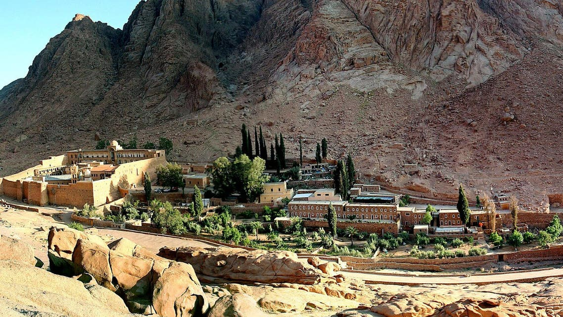 A general view of the Saint Catherine's monastery (far left) with its living and tourist facility in the Sinai peninsula of Egypt May 18, 2005. (Reuters)