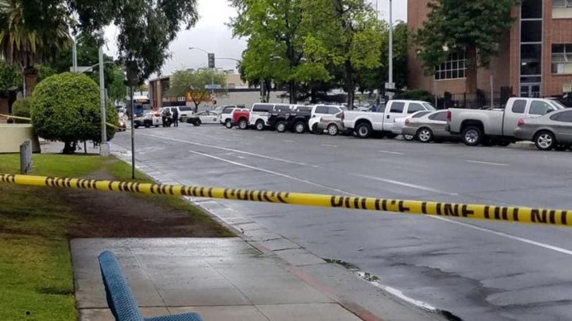 A road is blocked by police tape after a multiple victim shooting incident in downtown Fresno, California, U.S. April 18, 2017. Fresno County. (Reuters)