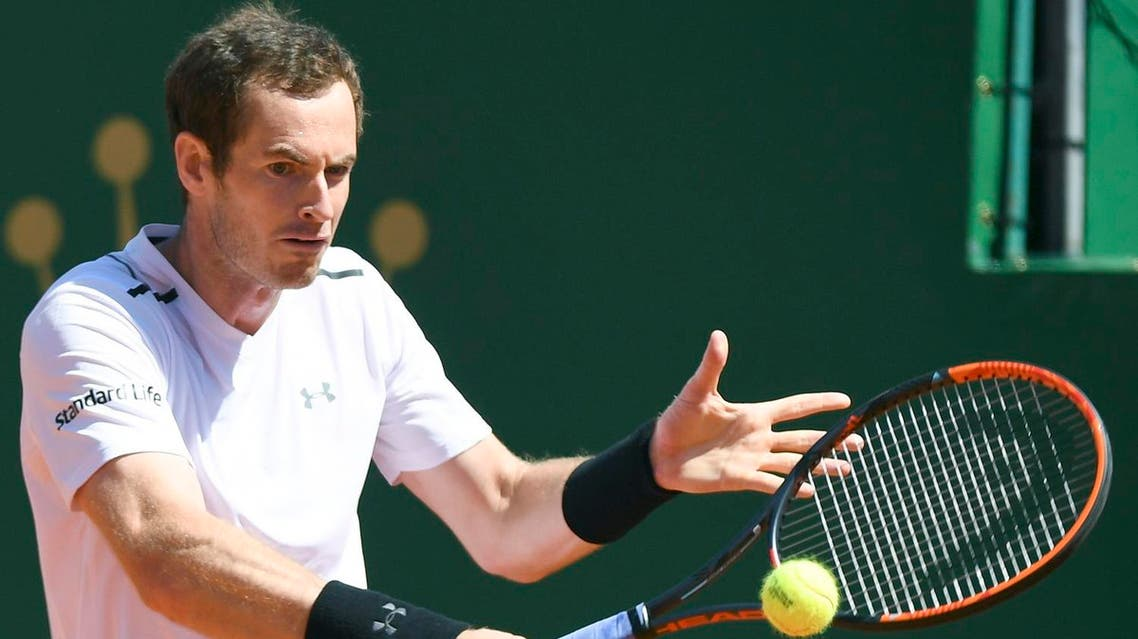 Britain's Andy Murray hits a return to Luxembourg's Gilles Muller during the Monte Carlo ATP Masters Series tournament on April 19, 2017 in Monaco. Andy Murray beat Gilles Muller 7-5, 7-5. (AFP)