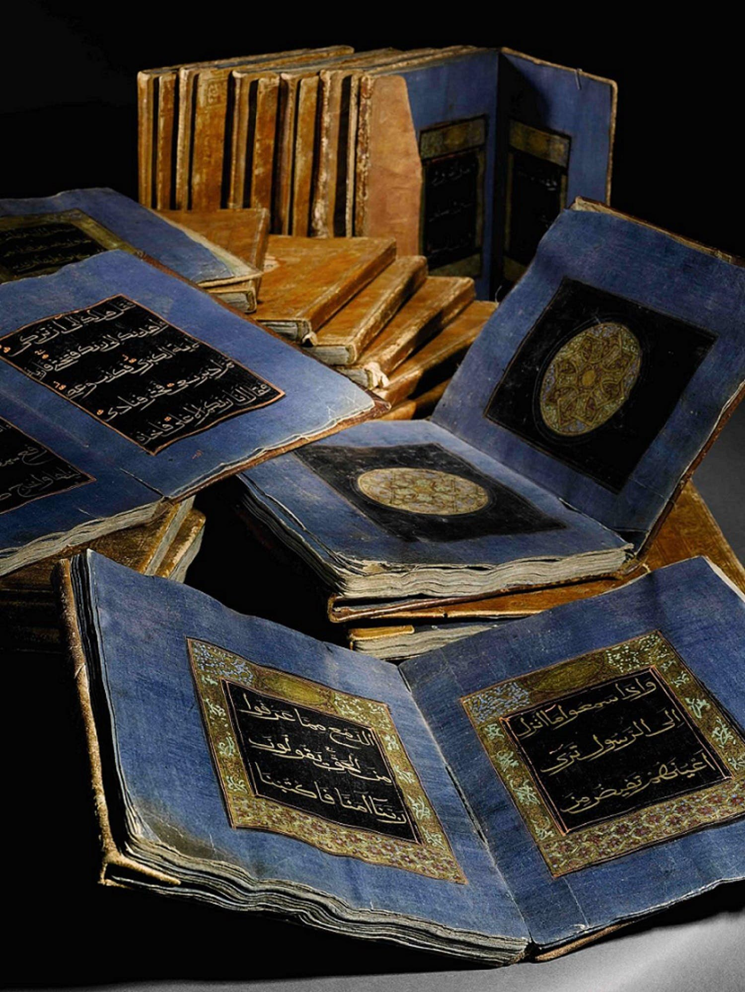 Holy Qur'an copied in China in 30 volumes (1156 AH, 1743 CE), China, Ink, gold and colours on paper. (Courtesy: Zayed National Museum, Abu Dhabi Tourism & Culture Authority).