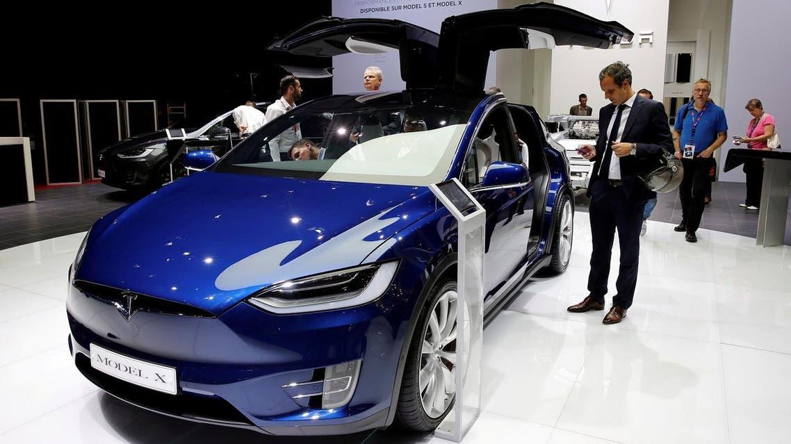 The Tesla Model X car at the Paris auto show, in Paris, on September 29, 2016. (Reuters)
