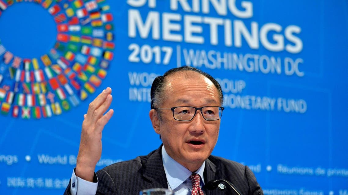 World Bank President Jim Yong Kim gestures as he makes remarks during a press briefing to open the the IMF and World Bank's 2017 Annual Spring Meetings in Washington, on April 20, 2017. (Reuters)