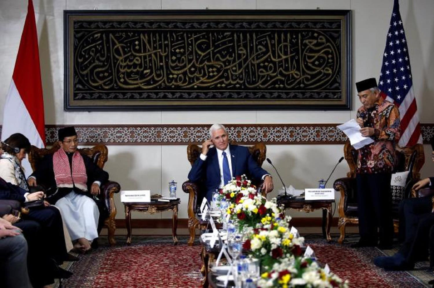 US Vice President Mike Pence listens during a meeting with Indonesian Muslim community leaders at the Istiqlal Mosque in Jakarta, on April 20, 2017. (Reuters)