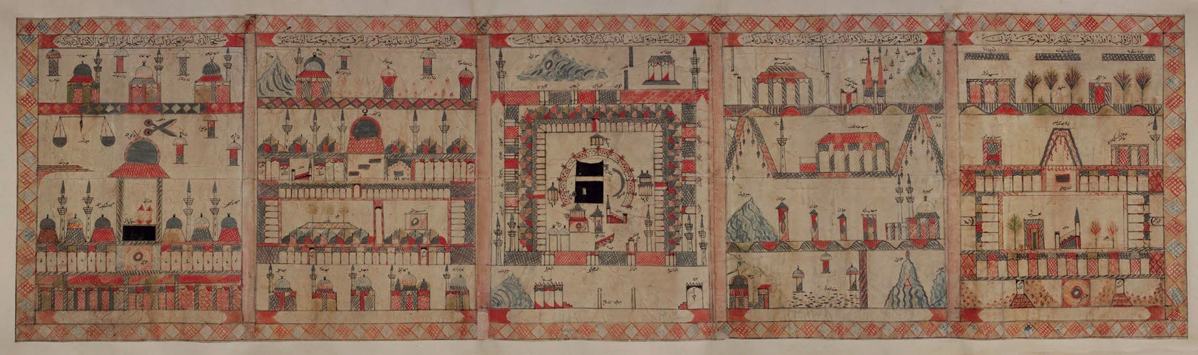 Pilgrimage scroll. About 1880 Hijaz, present day Saudi Arabia, Ink and watercolour on paper, backed on card and fabric. (Courtesy: Nasser D. Khalili Collection of Islamic Art)