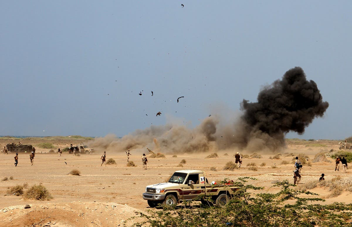A landmine explodes as Yemeni loyalist forces patrol an area near the Red Sea port town of Mocha on January 20, 2017. (AFP)