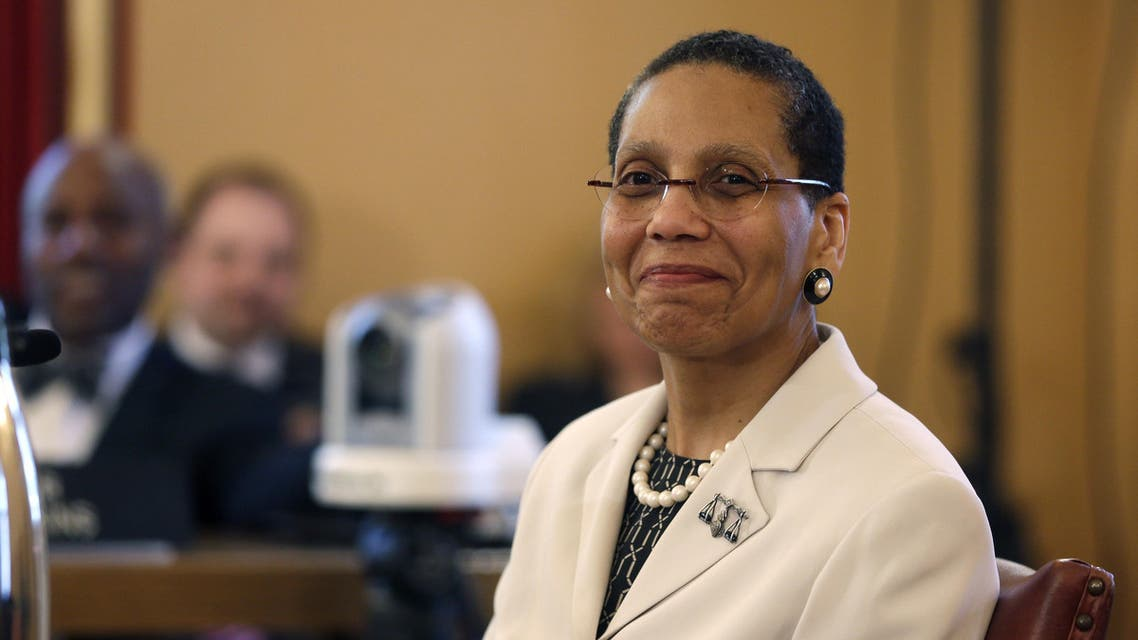 In this April 30, 2013 file photo, Justice Sheila Abdus-Salaam looks on as members of the state Senate Judiciary Committee vote unanimously to advance her nomination to fill a vacancy on the Court of Appeals at the Capitol in Albany, N.Y. AP