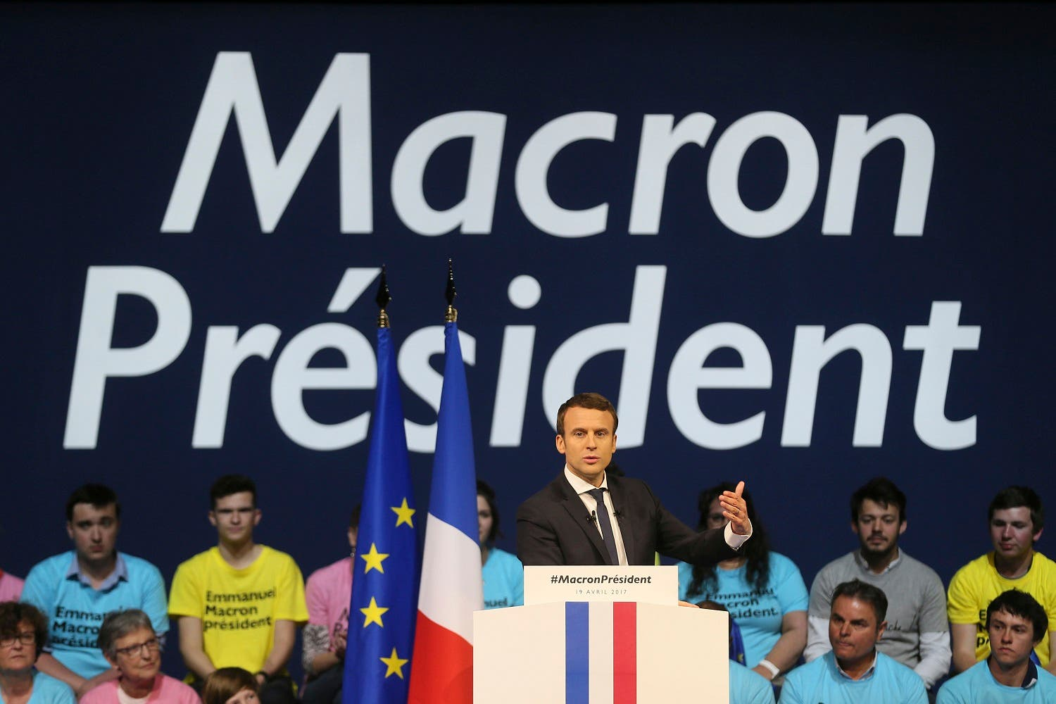 Emmanuel Macron delivers his speech during a meeting in Nantes, western France, on April 19, 2017. (AP)