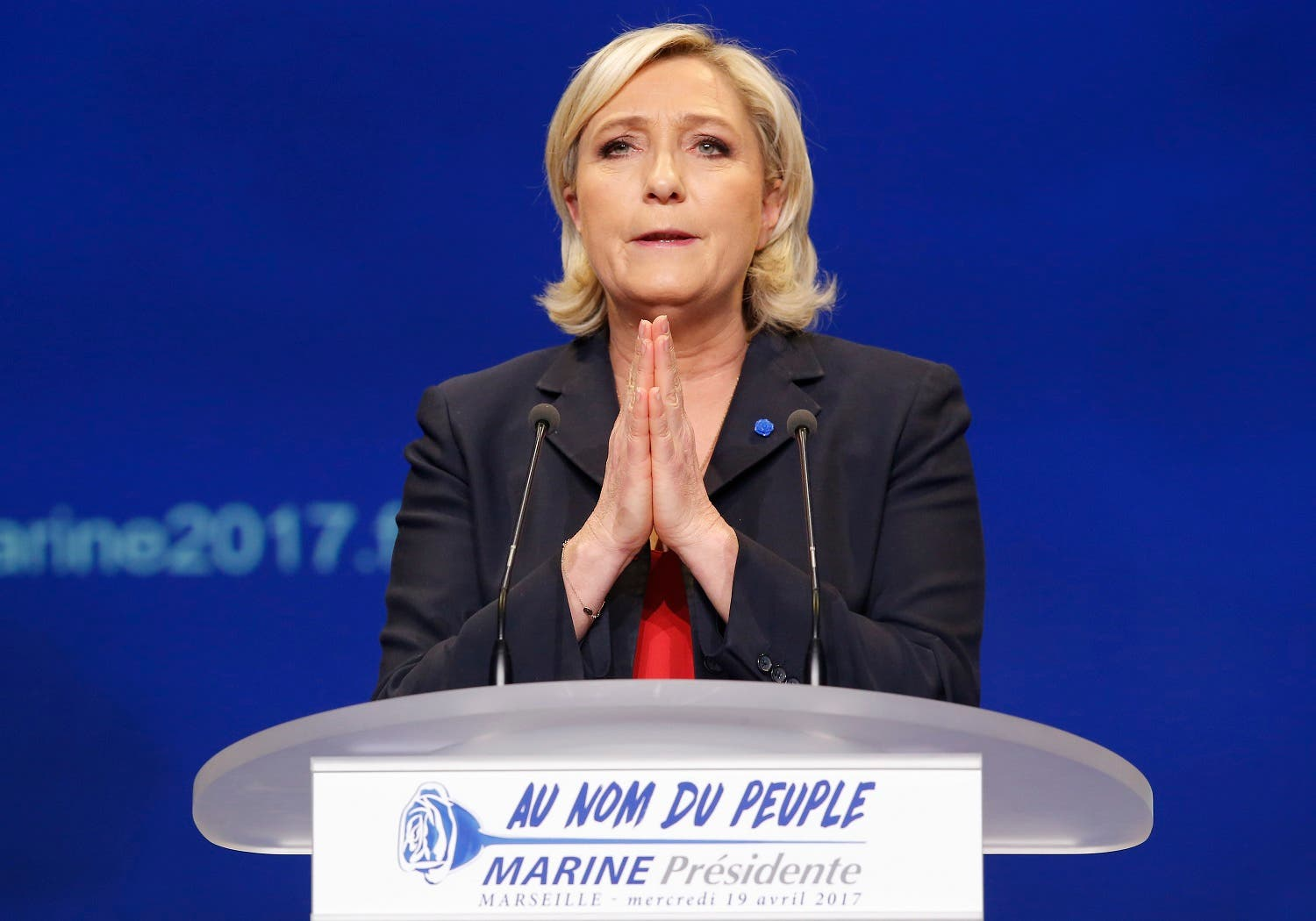 Marine Le Pen speaks during a meeting in Marseille on April 19, 2017. (AP)