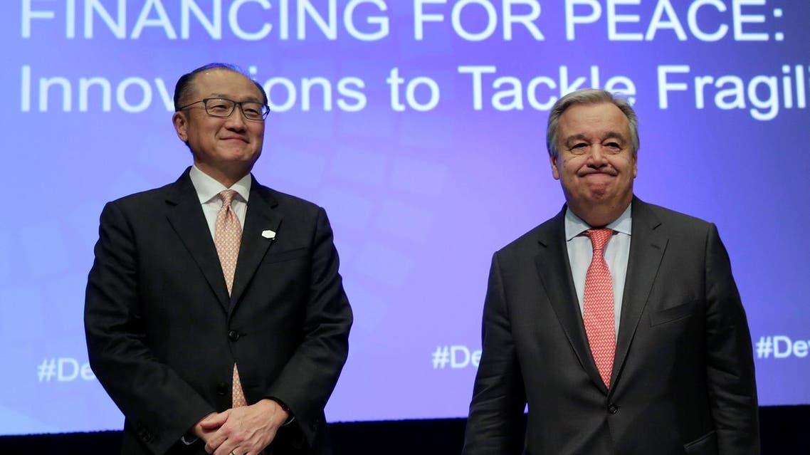 UN Secretary General Antonio Guterres (right) and World Bank President Jim Yong Kim at the IMF/World Bank spring meetings in Washington, on April 21, 2017. (Reuters)