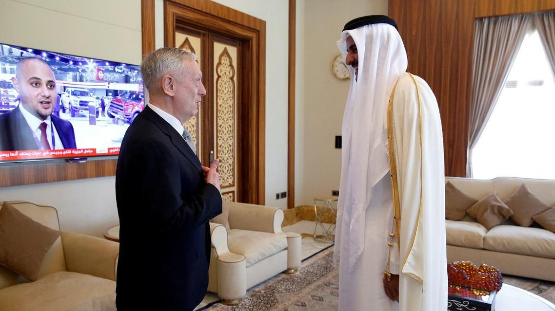 Qatar's Emir Al-Thani welcomes Mattis at his residence, the Sea Palace, in Doha, Qatar. (Reuters)