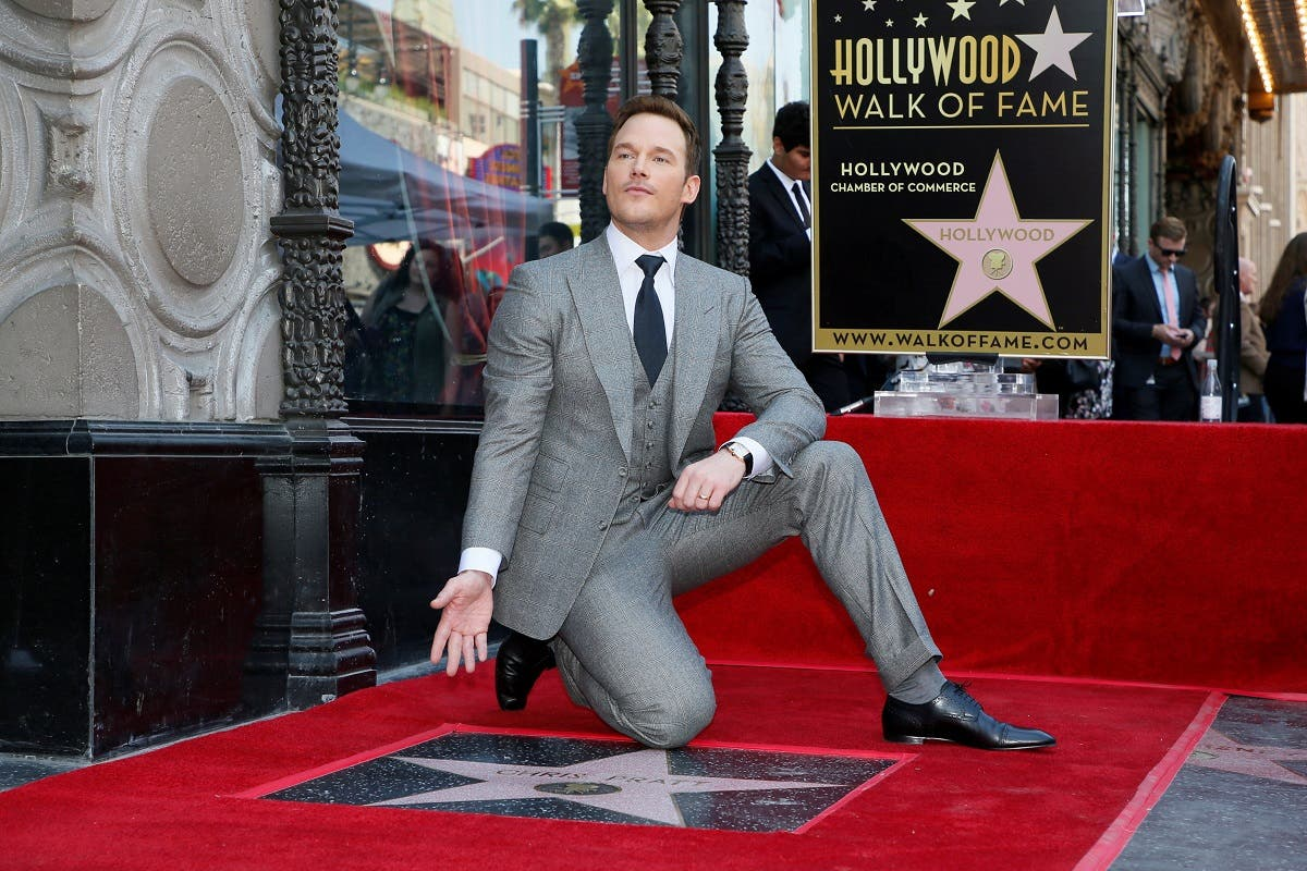 Actor Chris Pratt poses during a ceremony honoring him with a star on the Hollywood Walk of Fame in Hollywood. (Reuters)