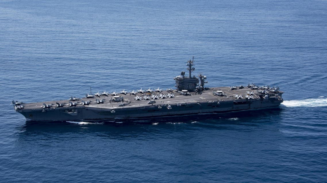 The aircraft carrier USS Carl Vinson (CVN 70) transits the Indian Ocean, April 15, 2017. Picture taken April 15, 2017. U.S. Navy photo by Mass Communication Specialist 3rd Class Matt Brown/Handout via REUTERS