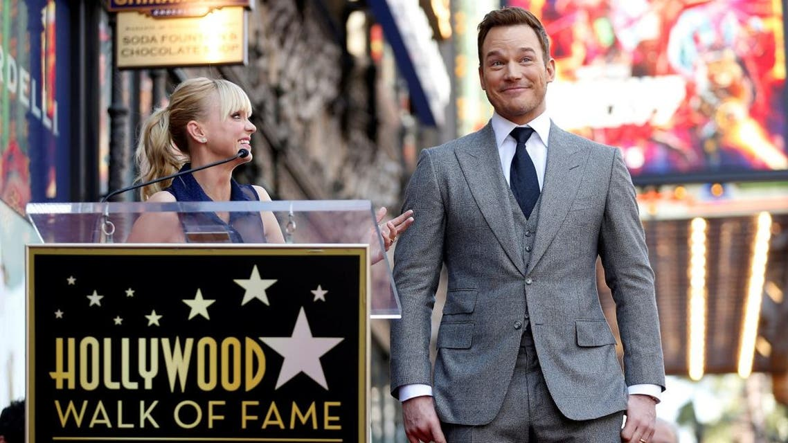 Actor Anna Faris talks about her husband actor Chris Pratt during a ceremony honoring him with a star on the Hollywood Walk of Fame in Hollywood, California. (Reuters)