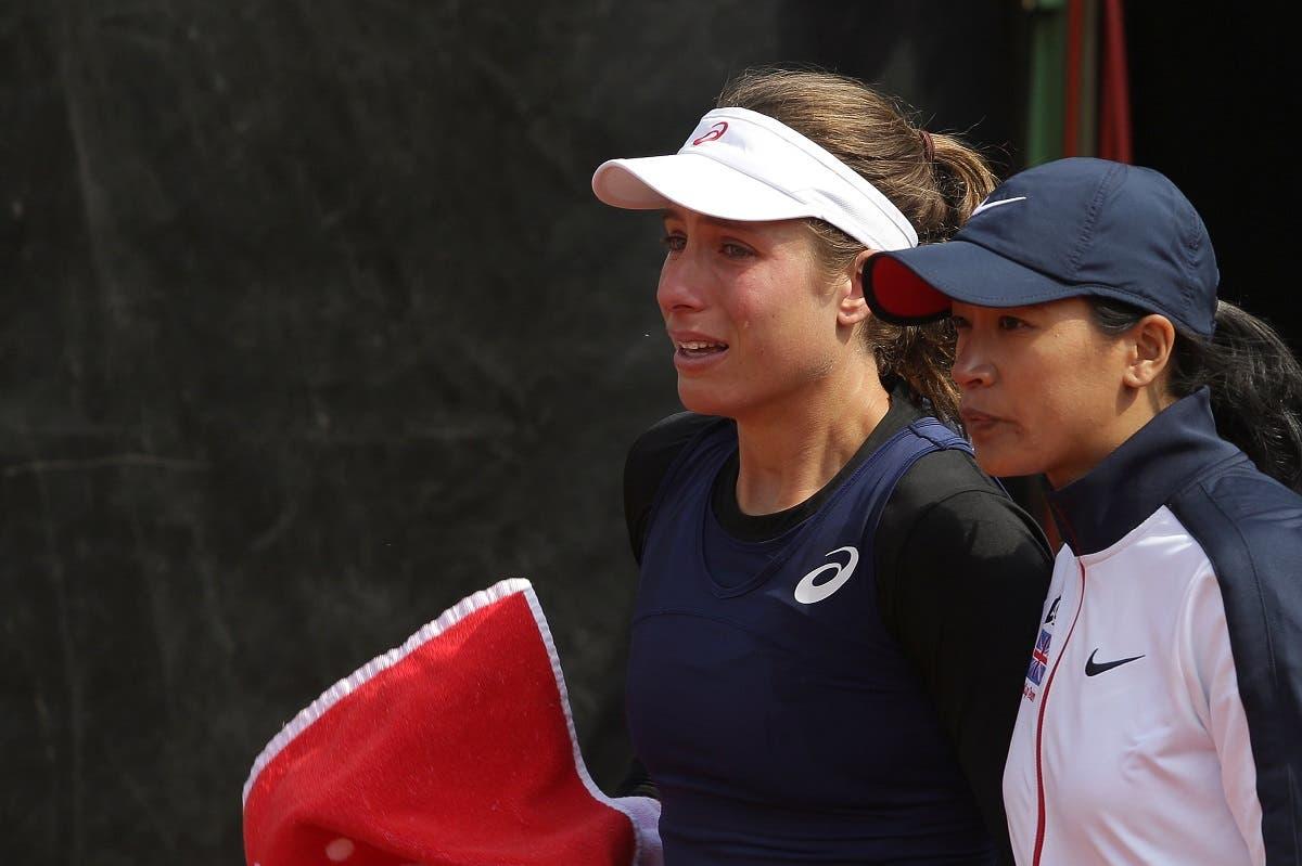 Britain's Johanna Konta cries while leaving the tennis court. (Reuters)