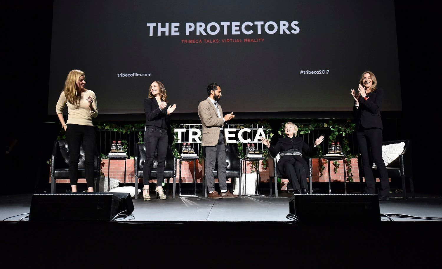 Hillary Clinton was an unannounced panelist at the Tribeca Film Festival, to discuss the scourge of elephant poaching - the subject of Kathryn Bigelow's eight-minute film. (AP)