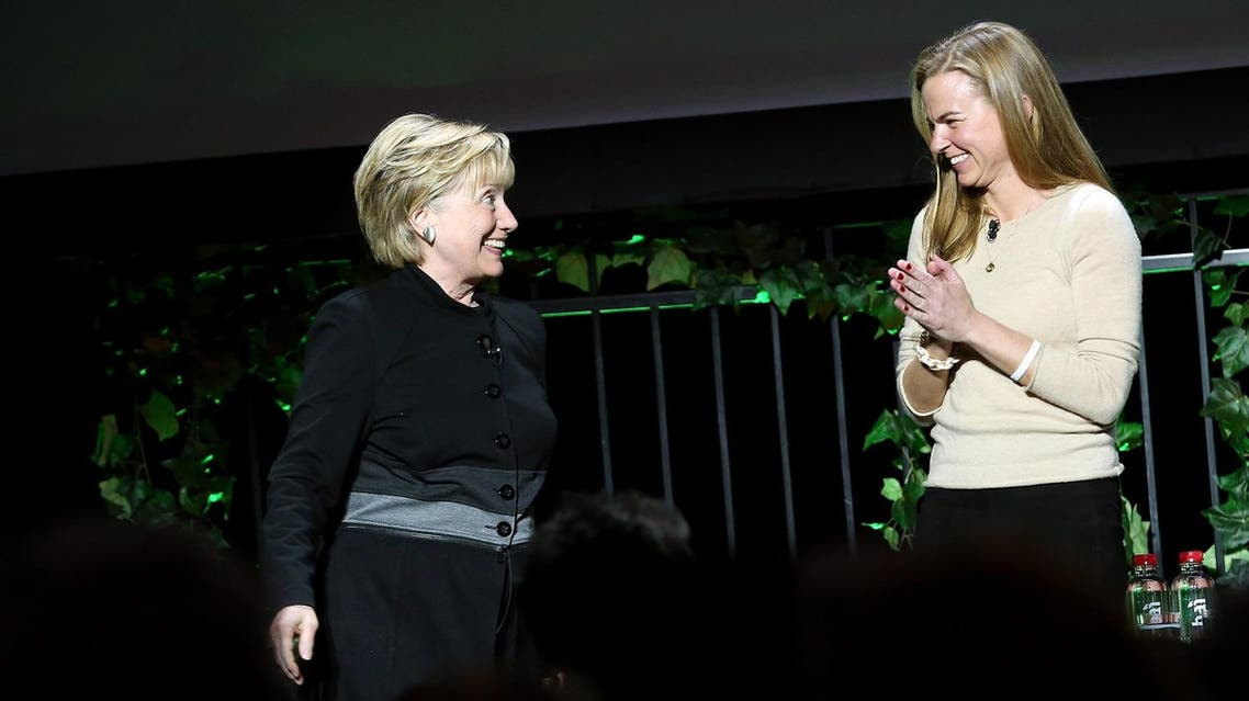 Former United States Secretary of State Hillary Clinton (left) and Director at African Parks Andrea Heydlauff speak on stage at Tribeca Film Festival on April 22, 2017 in New York City. (AFP)