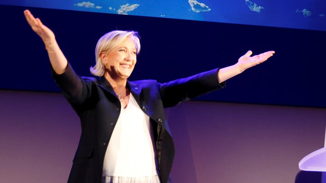 Marine Le Pen, French National Front (FN) political party leader and candidate for French 2017 presidential election celebrates after early results in the first round of 2017 French presidential election in Henin-Baumont, France, April 23, 2017.
