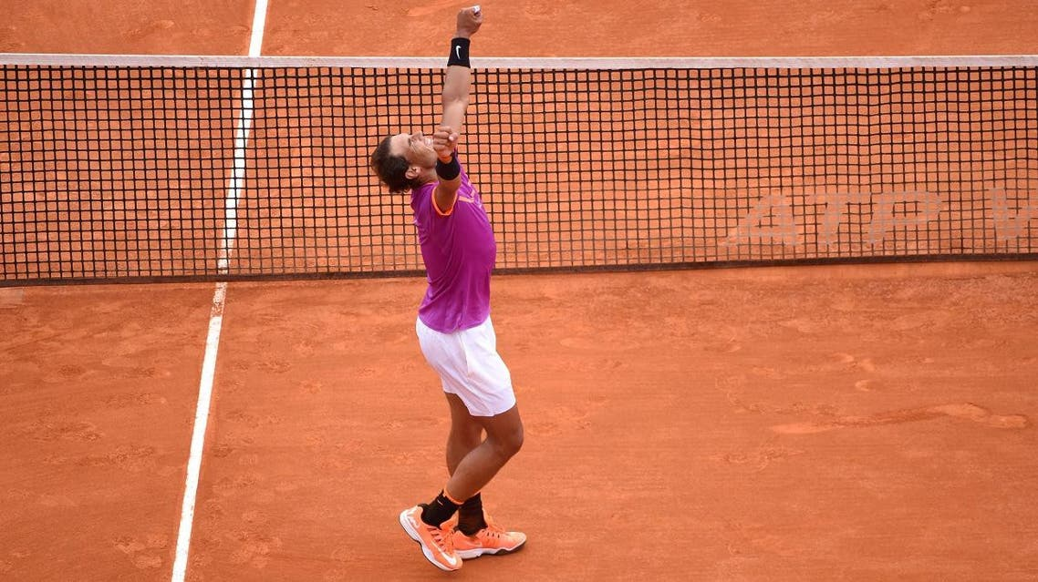 Rafael Nadal of Spain reacts after defeating his compatriot Albert Ramos-Vinolas in the final of the Monte Carlo Masters. (Reuters)