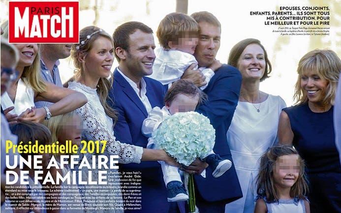 على غلاف مجلة باري ماتش العام الماضي، ماركون وزوجته مع أبنائها الثلاثة وبعض أحفادها