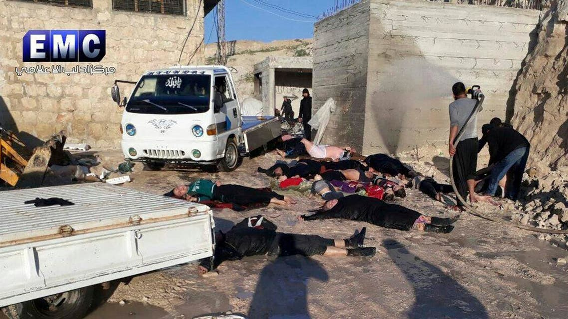 Photo shows victims of a suspected chemical attack in the town of Khan Sheikhoun on April 4, 2017. (Edlib Media Center, via AP)