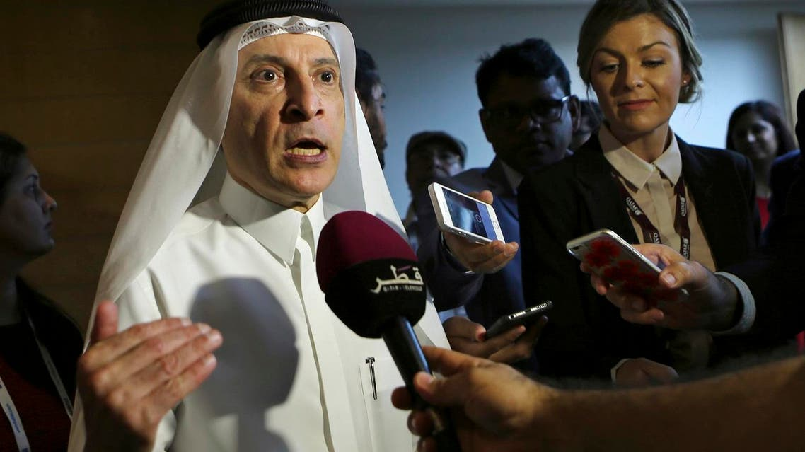 Qatar Airways CEO Akbar al-Baker speaks at a press conference during the Arabian Travel Market Exhibition in Dubai on April 24, 2017. (AP)