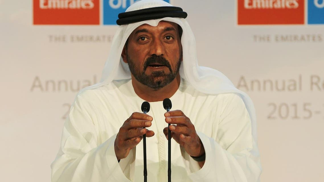"""Emirates airlines Chairman Sheikh Ahmed bin Saeed Al Maktoum said demand for US routes not affected by flight cuts """"is holding"""". (AP)"""