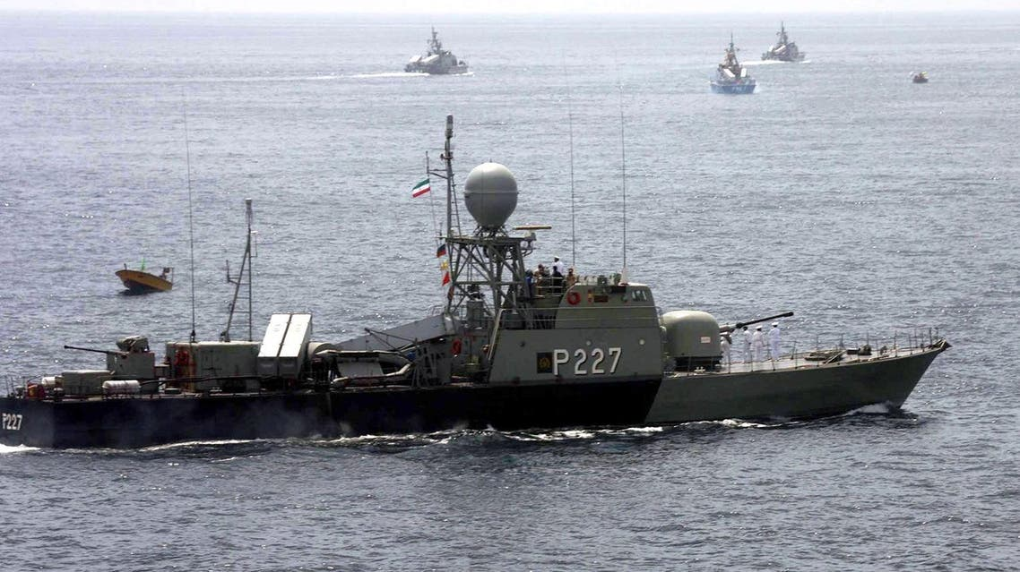 Iran's armed forces vessels take part in a naval parade at the conclusion of the maneuvers, in the Gulf . (File photo, AP)