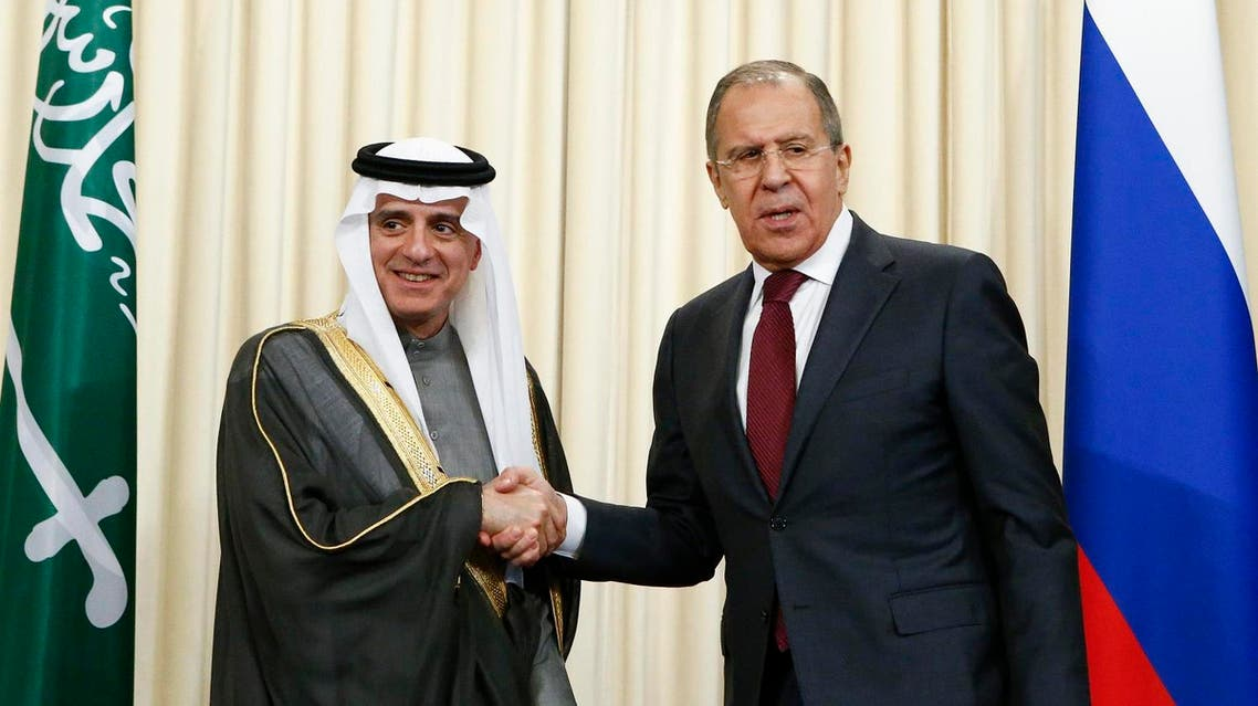 Sergei Lavrov and Adel al-Jubeir during a news conference after the talks in Moscow on April 26, 2017. (Reuters)