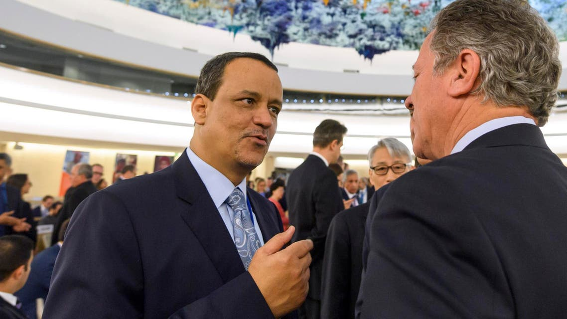 UN special envoy to Yemen, Ismail Ould Cheikh Ahmed (L) meets delegates prior to the opening of a high-level conference to raise funds for war-ravaged Yemen on April 25, 2017 at the Unites Nations Office in Geneva. AFP