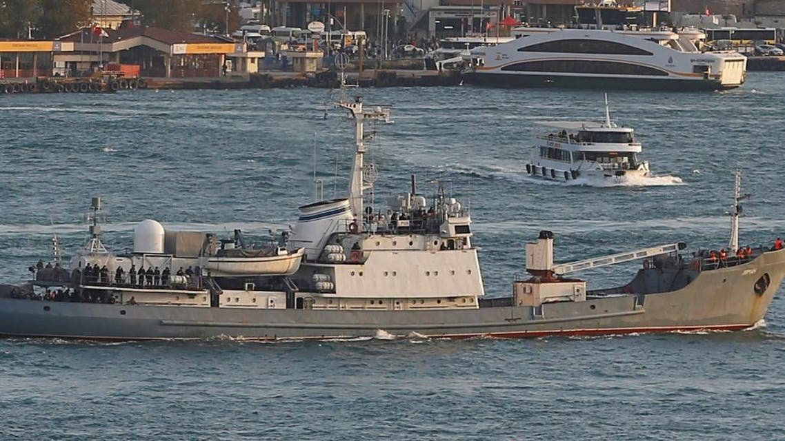 Russian Navy's reconnaissance ship Liman of the Black Sea fleet sails in the Bosphorus, on its way to the Mediterranean Sea, in Istanbul. (Reuters