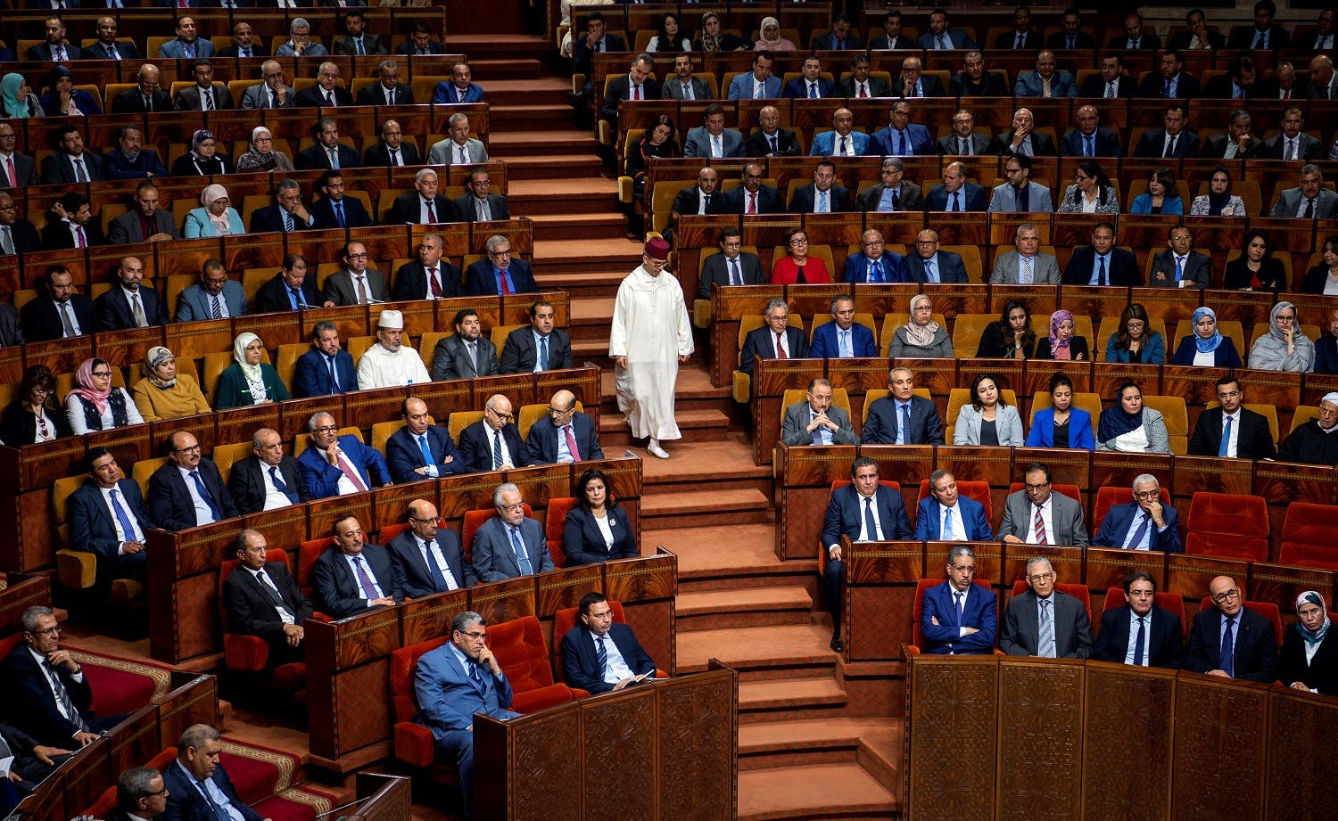 A picture taken on April 19, 2017 shows the parliament during a joint public meeting devoted to the presentation of the government program by Morocco's newly appointed Prime Minister, in Rabat, on April 19, 2017. (AFP)
