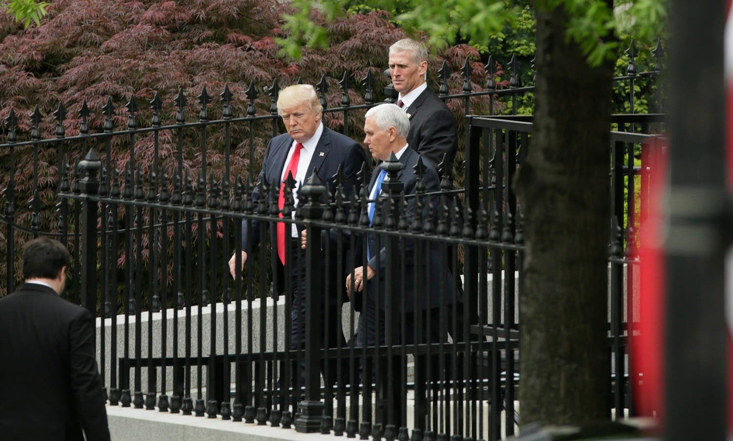 President Donald Trump and Vice President Mike Pence leave a briefing for members of the US Senate on North Korea at the White House in Washington on April 26, 2017. (Reuters)