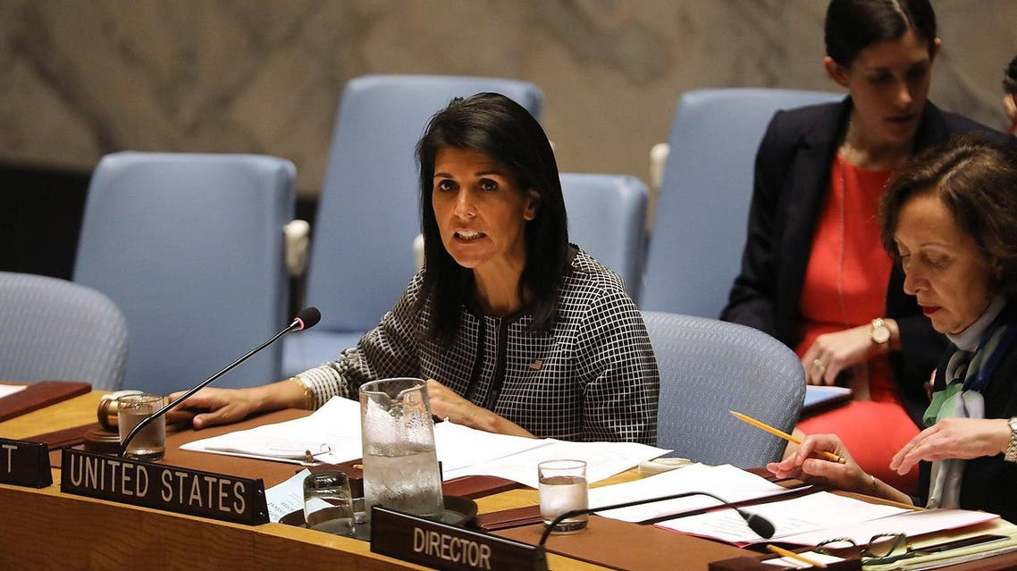 NEW YORK, NY - APRIL 12: U.S. Ambassador to the United Nations Nikki Haley attends a United Nations (UN) Security Council meeting on the situation in the Middle East where the ongoing conflict in Syria was discussed on April 12, 2017 in New York City. It is expected that the Security Council will vote later on Wednesday on a draft resolution demanding that the Syrian government cooperate with an investigation of the suspected chemical attack last week. Spencer Platt/Getty Images/AFP