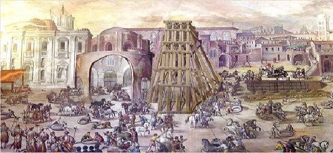 لوحة محفوظة بمتحف الفاتيكان، لكيفية نقلها أقل من كيلومتر من روما إلى الحاضرة الفاتيكانية
