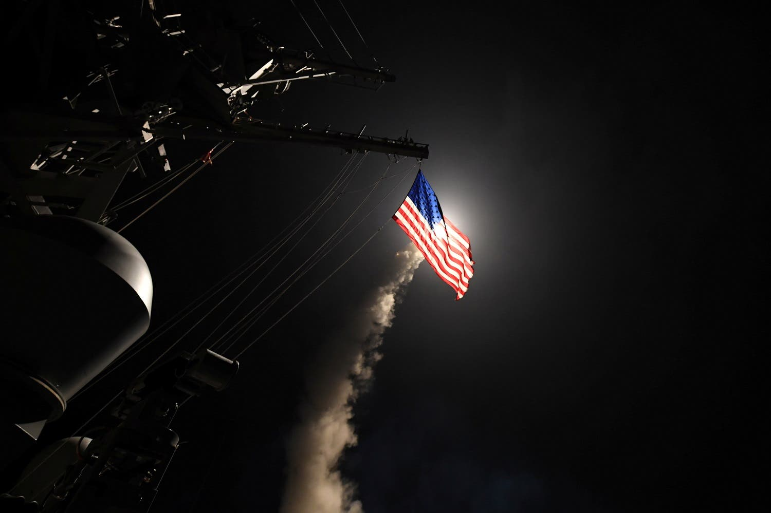 US Navy guided-missile destroyer USS Porter (DDG 78) conducts strike operations as part of a cruise missile strike against Syria on April 7, 2017 after a Syrian town was targeted in a sarin gas attack (Photo: Ford Williams/Courtesy US Navy/Handout via Reuters)